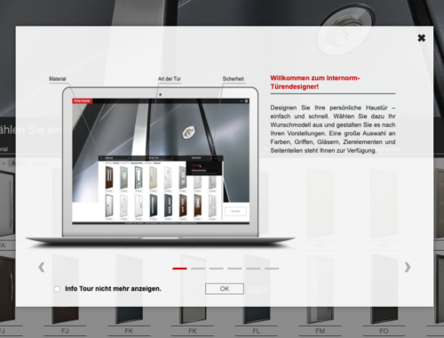 Webseitenansicht des Internorm-Türendesigners